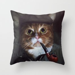 Holmes the Cat Throw Pillow