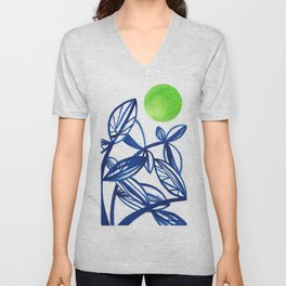 Navy blue and lime green abstract leaves Unisex V-Neck