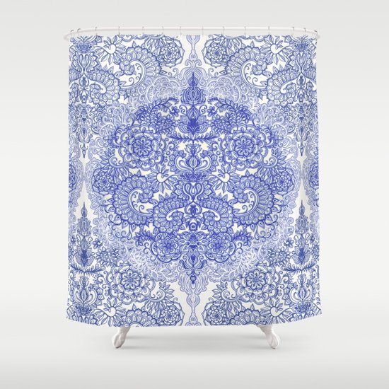Happy Place Doodle in Cornflower Blue, White & Grey Shower Curtain