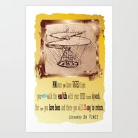 da vinci Art Prints featuring Da Vinci Helicopter by Anarchasm