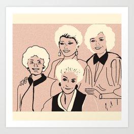 Golden Girls Cartoon Portrait Art Print