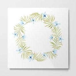 Hawaiian Watercolor Blue Plumeria Wreath Metal Print
