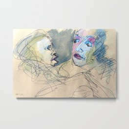 sketch of a mother with her child Metal Print