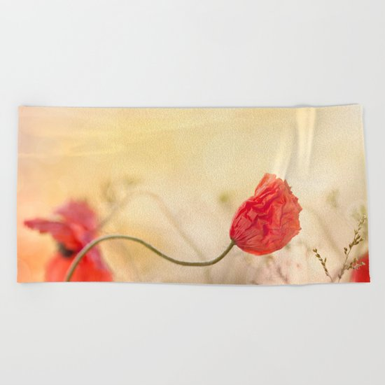 Poppy flower and sunset Beach Towel