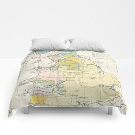 Vintage Map of the Coal Fields of Great Britain Comforters