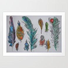 Zen Feathers Art Print