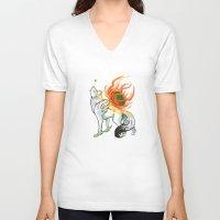 okami V-neck T-shirts featuring Okami Amaterasu by Keshi