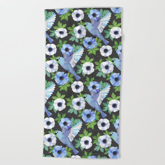 Blue Bird & Anemone Collage Beach Towel