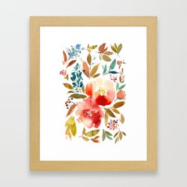 Red Turquoise Teal Floral Watercolor Framed Art Print