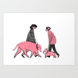 Moments in New York: Dogs Meeting Art Print