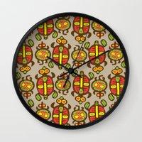 turtles Wall Clocks featuring Turtles by Olya Yang
