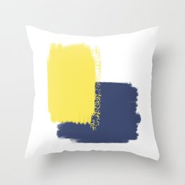 Calm & Happy Abstract Painting Yellow Blue Throw Pillow