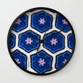 African Flower Crochet Art Wall Clock
