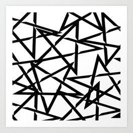 Interlocking Black Star Polygon Shape Design Art Print