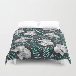 Laughing Baby Elephants – emerald and turquoise Duvet Cover