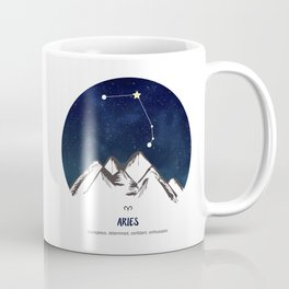Astrology Aries Zodiac Horoscope Constellation Star Sign Watercolor Poster Wall Art Coffee Mug