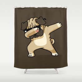 Dabbing Pug Shower Curtain