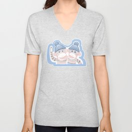 Light Pink and Soft Blue Sock Monkeys Unisex V-Neck