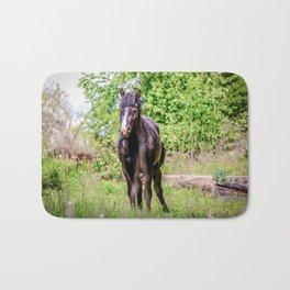Dark bay horse Bath Mat