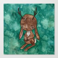 jackalope Canvas Prints featuring Jackalope by FawnLorn