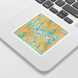 Jeweled Enamel Leaves on Tan Sticker