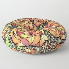 Orange Shaded Floral Floor Pillow