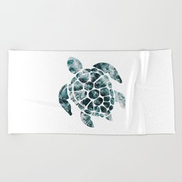 Sea Turtle - Turquoise Ocean Waves Beach Towel