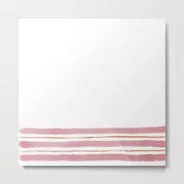 Simple Painted Stripes Rose Metal Print