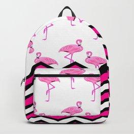 Pink Zebra Chevron with Flamingos Backpack