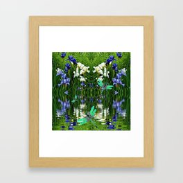TURQUOISE DRAGONFLIES IRIS WATER REFLECTIONS Framed Art Print