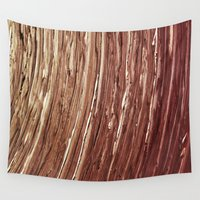 tree rings Wall Tapestries featuring Rings by Kathy Dewar