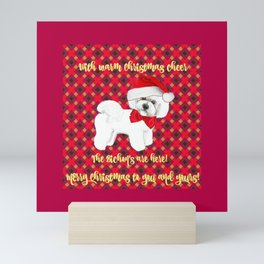 Bichon Frise red plaid christmas holiday themed pattern print pet friendly dog breed gifts Mini Art Print