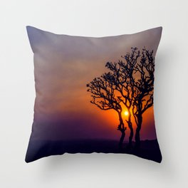 A Sunset Silhouette in Hampi, India Throw Pillow