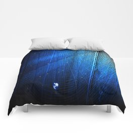 Raindrop on Blue Web Comforters