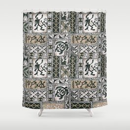 Hawaiian Honu Tapa Cloth Shower Curtain