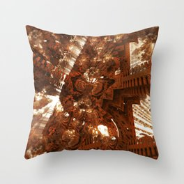 Cathedral shouting person fractal digital illustration Throw Pillow