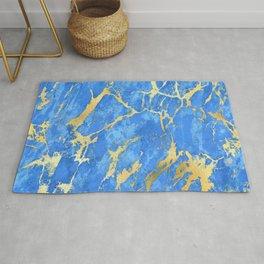 Azure Blue Marble With '24-Karat' Gold Veins Rug