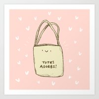 totes Art Prints featuring Totes Adorbs! by Sophie Corrigan