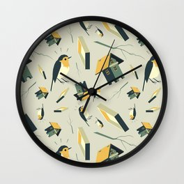 Flying Birdhouse (Pattern) Wall Clock