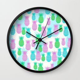Tropical pineapples Wall Clock