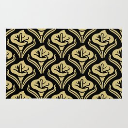 Calla Lily Pattern Black And Gold Rug