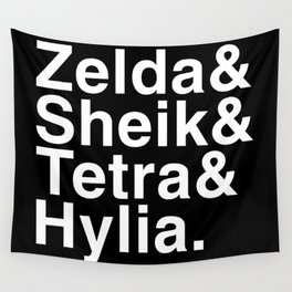 Zelda & Sheik & Tetra & Hylia helvetica list Wall Tapestry