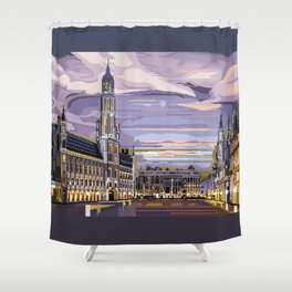 Brussels, Belgium pixel art Shower Curtain