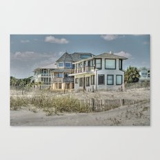 Tybee Island Beach Houses in Winter Canvas Print