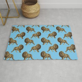 Chic Gold and Light Blue Lion Pattern Rug