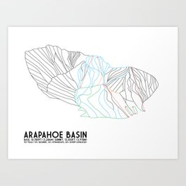 Arapahoe Basin, CO - Minimalist Trail Map Art Print