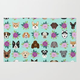 Dogs and cats pet friendly floral animal lover gifts dog breeds cat ladies Rug