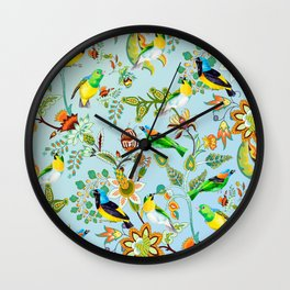 Colourful Birds Chintz Multicolour Wall Clock