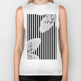Monochrome stripes and lilies Biker Tank