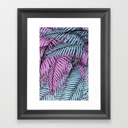Pink & Blue Palm Tree Framed Art Print